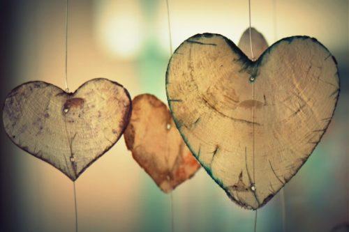 Tre hjerter av løv